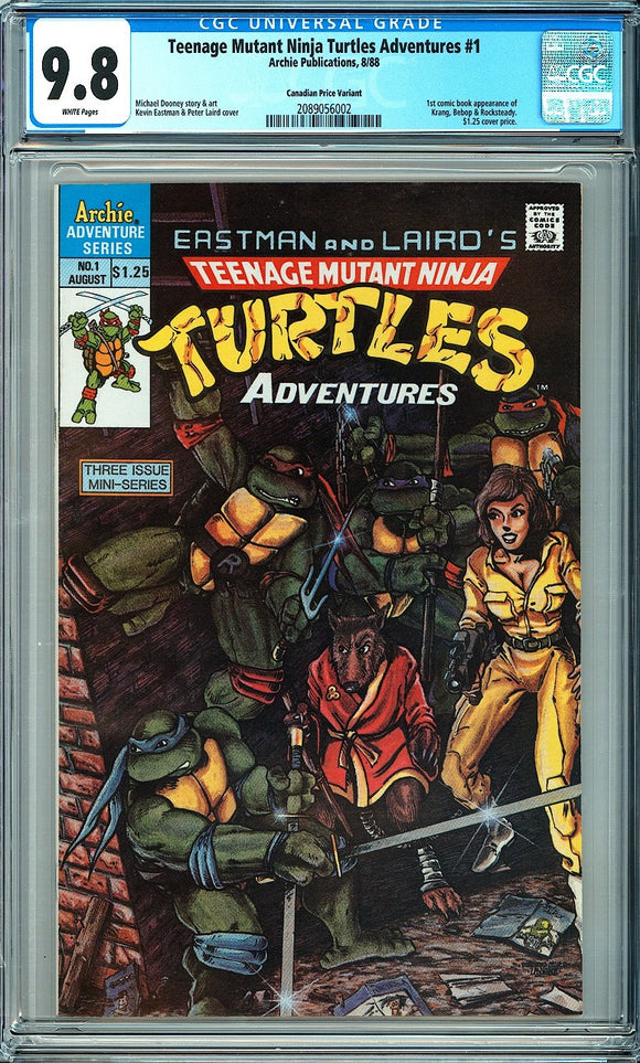 Teenage Mutant Ninja Turtles Adventures #1 CGC 9.8 White Pages ~Canadian Price Variant~