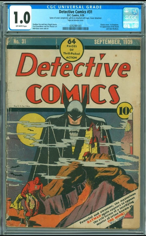 Detective Comics #31 CGC 1.0 Off-White Pages