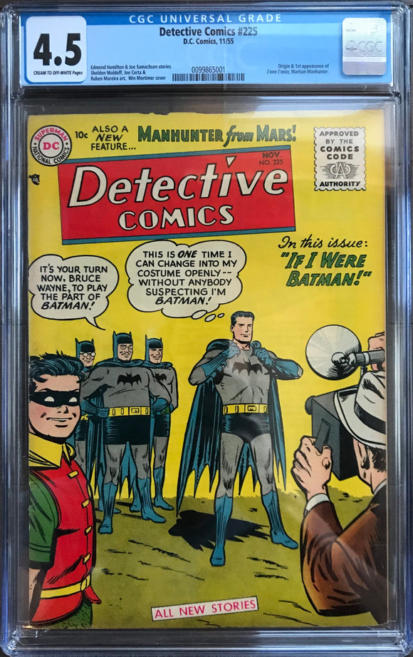 Detective Comics #225 CGC 4.5 Cream to Off-White Pages