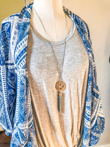 Anywhere But Here Gold and Teal Tassel Necklace