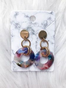 Inner Circle Acrylic Multicolored Drop Earrings