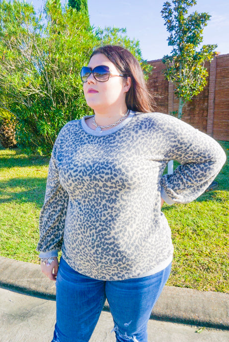 Brushed Leopard Pullover Top