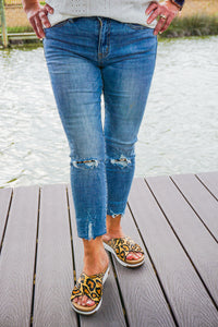 Kancan Karla Distressed Leopard Denim