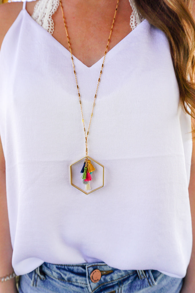 Always With Me Hexagon Tassel Necklace