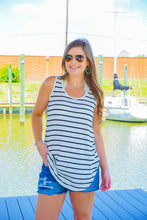 Load image into Gallery viewer, stripe, black, white, tank, top, summer, versatile, comfy, everyday