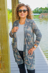 Hidden Treasure Camo Jersey Cardigan