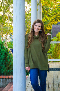 Free As Can Be Olive Waffle Knit Sweater Top