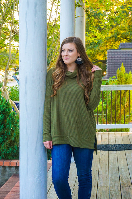 Free As Can Be Waffle Knit Top-Olive