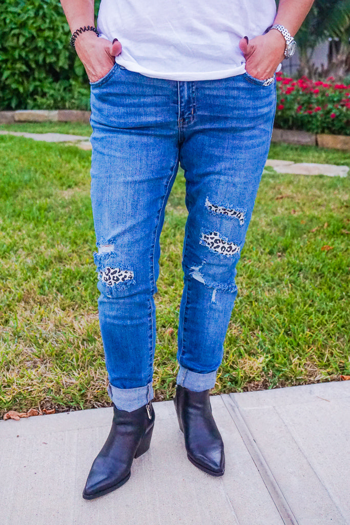 Maddy Kancan Black & White Leopard Patch Mid Rise Light Wash Jeans
