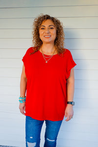 So In Love Red Strong Shoulder Short Sleeve Top