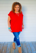 Load image into Gallery viewer, So In Love Red Strong Shoulder Short Sleeve Top