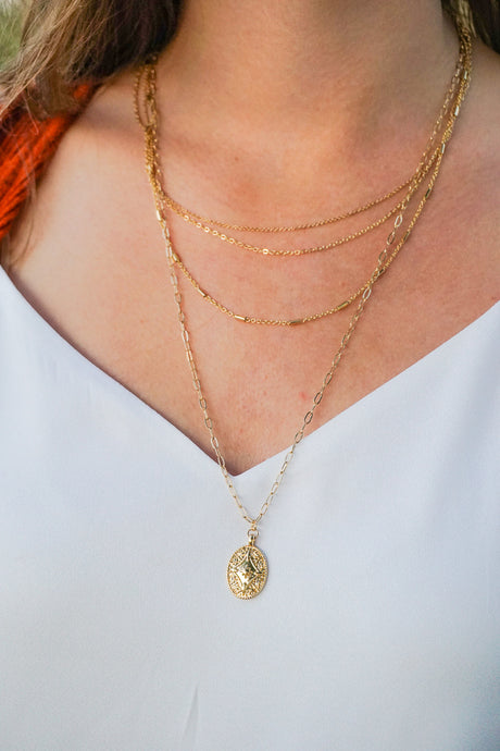 Dainty Gold Layered Coin Necklace