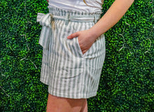 Load image into Gallery viewer, Flirty & Thriving Mint Stripe Paperbag Waist Shorts