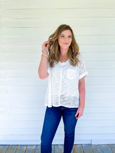 One Of A Kind Soft Knit V-Neck Tee in White