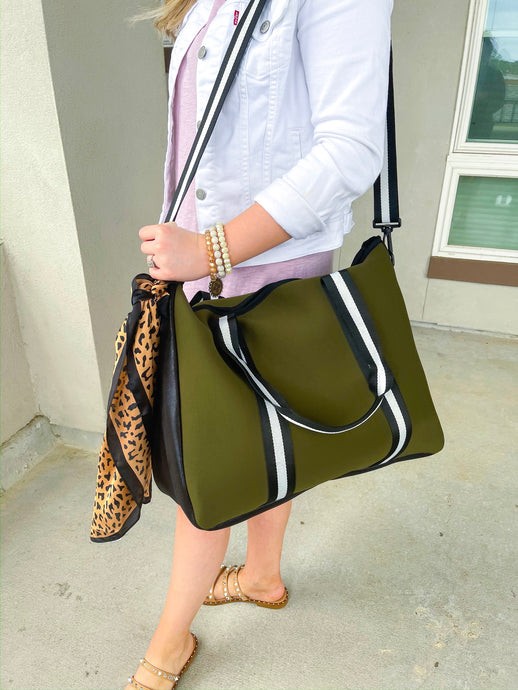 Olive Green Weekender Tote with Black/White Stripe
