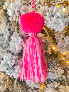 Pink & White Single Pom