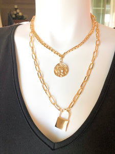Layered Chain Necklace with Coin & Lock