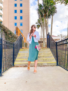 Stay Positive Teal Midi Dress