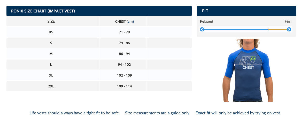 Ronix Imperial Life Vest Size Chart