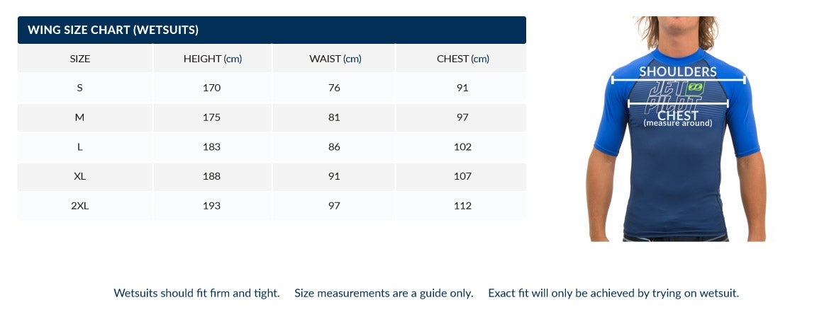 Wing Pro Mens Barefoot Suit Size Chart