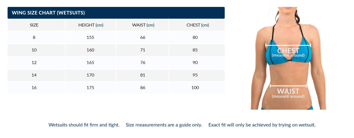 Wing Ariel Womens Barefoot Suit Size Chart