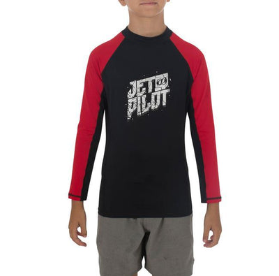 Jetpilot Corp Boys Long Sleeve Rashie (2018) - Black/Red MAIN
