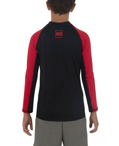 Jetpilot Corp Boys Long Sleeve Rashie (2018) - Black/Red BACK