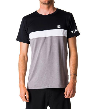 Ripcurl Underline Panel Short Sleeve UV Tee (2019) - Black/Grey - Waterskiers World