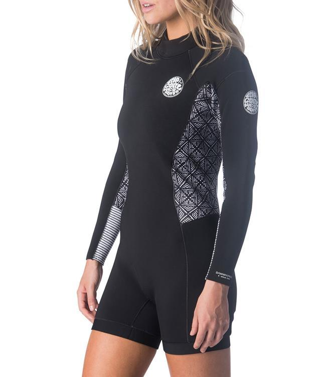 Ripcurl Dawn Patrol Womens Long Sleeve Springsuit (2019) - Black/White MAIN