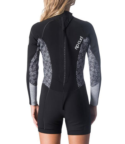 Ripcurl Dawn Patrol Womens Long Sleeve Springsuit (2019) - Black/White BACK