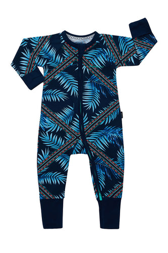 Bonds Wondersuit zippy | Blue fern forest fiesta onesie - Cuddle Factory