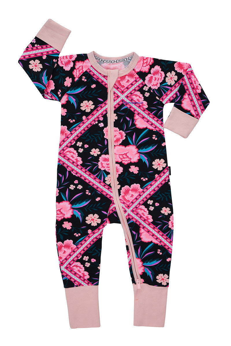 Bonds Wondersuit zippy | Floral zigzag onesie - Cuddle Factory
