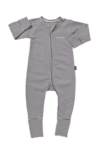 Bonds Wondersuit zippy | Stripey Dark Grey onesie - Cuddle Factory