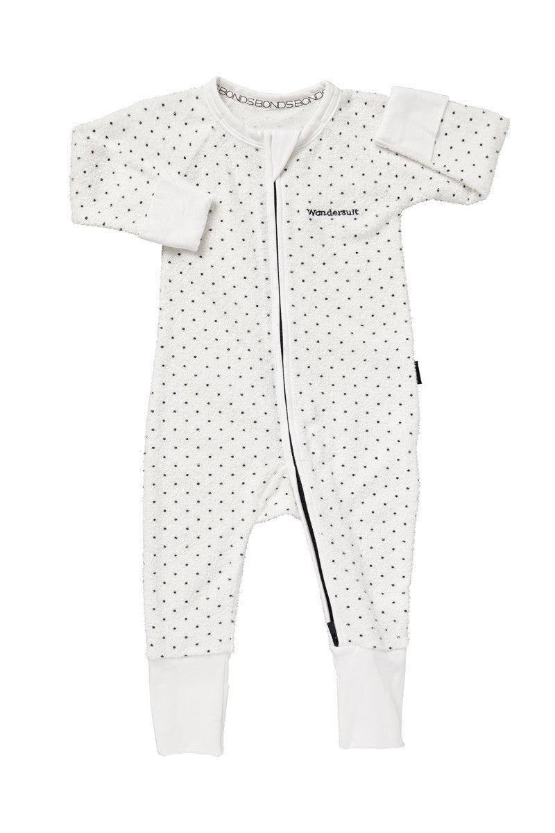 Bonds Wondersuit | Poodelette white dotted onesie - Cuddle Factory