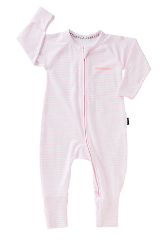 Bonds Wondersuit zippy | Stripey pink onesie - Cuddle Factory
