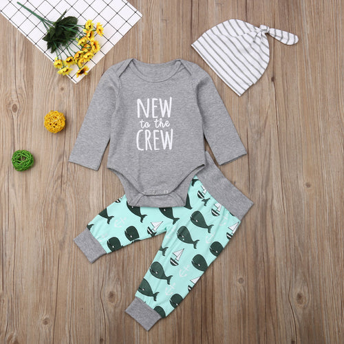 New to the Crew - Whale | 3 piece Baby outfit - Cuddle Factory