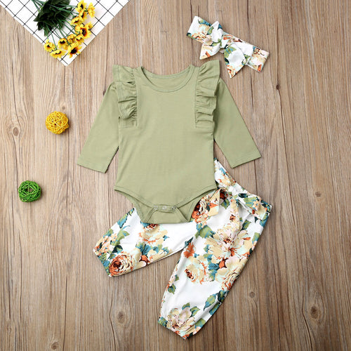 Ruffles and Flowers | 3 piece outfit - Cuddle Factory