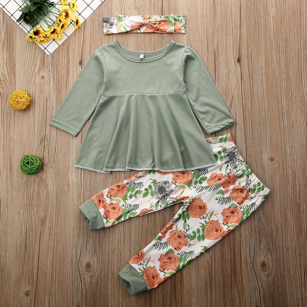 Flower playsuit | 3 piece outfit - Cuddle Factory
