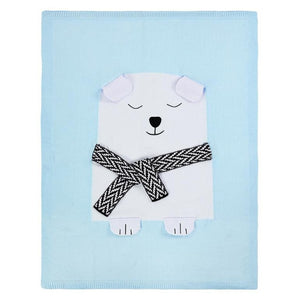 Knitted Bear Baby Blanket | Toddler Bed - Cuddle Factory