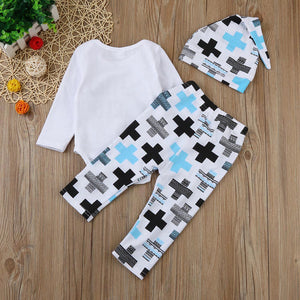 Baby outfit | Hello world 3 piece - white and blue