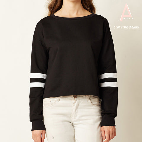 Black Circle Stripes Crop T-shirts