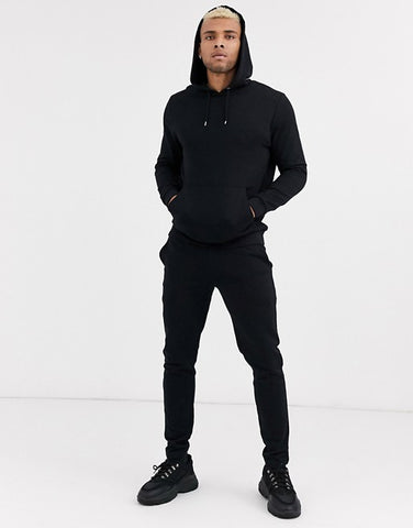 Black Plain Tracksuit