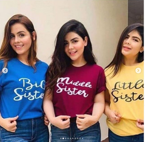 Pack Of Three Half Sleeves Sisters Printed T-shirts