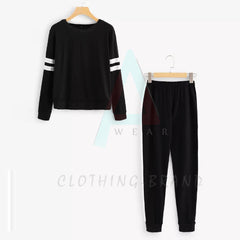Black Circle Stripes Printed Tracksuit