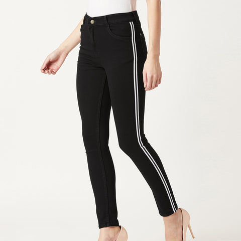 Black Side Striped Jeans