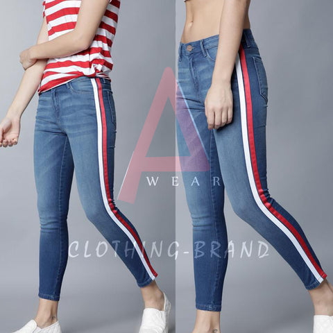 Mid Blue Double Side Striped Jeans