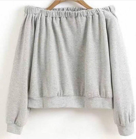 Gray Elastic Neck Women's Plain Short Top