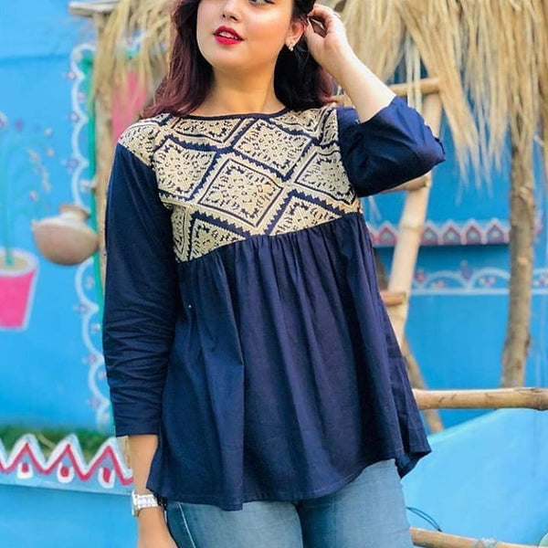 Navy Blye Short Embroidery Top