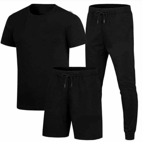 Black Summer Plain Tracksuit Set