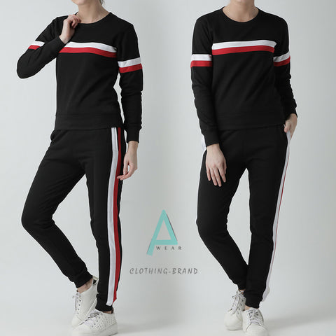 Black Multicolor Stripes Tracksuit